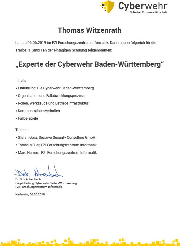 Urkunde Cyberwehr Thomas Witzentrath